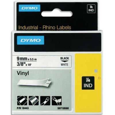 Ruban Dymo Rhino 9 mm vinyl noir sur blanc 18443
