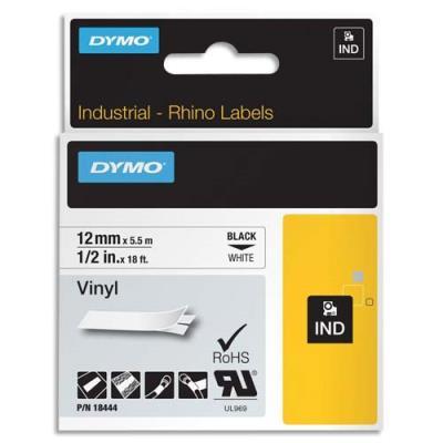 Ruban DYMO Rhino 12 mm vinyl noir sur blanc 18444