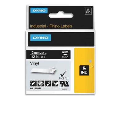 Ruban Dymo Rhino 12 mm vinyl blanc sur noir 1805435
