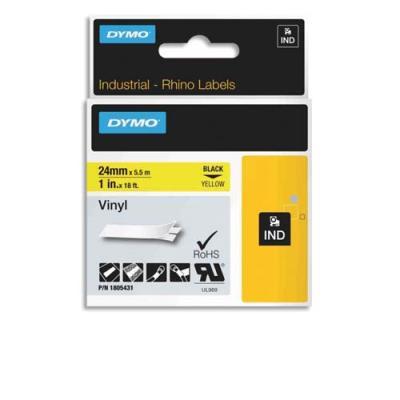 Ruban Dymo Rhino 24 mm vinyl noir sur jaune 1805431