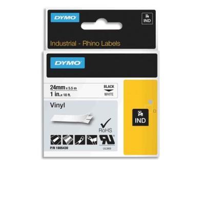 Ruban Dymo Rhino 24 mm vinyl noir sur blanc 1805430