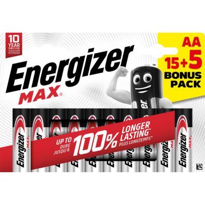 Pile alcaline AA / LR6 Energizer Max - pack Promo 15 + 5 GRATUITES - blister 20 unités