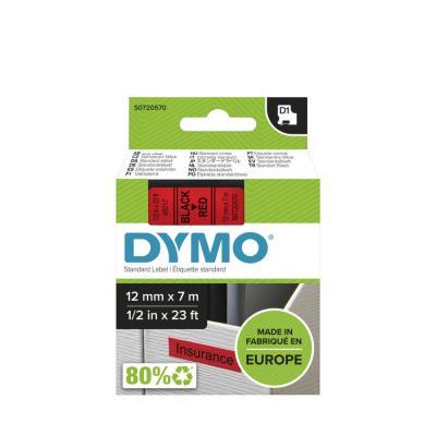 Ruban Dymo D1- 45017 - Ruban noir/rouge - 12 mm x 7 m
