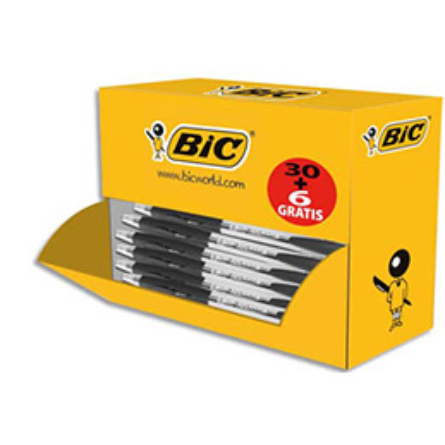 Pack éco de 30+6 stylo bille ATLANTIS noir - pointe moyenne - rechargeable - bille indéformable (photo)