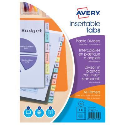 Intercalaires à onglets personnalisables Avery - polypropylène 18/100ème - A4 - 8 positions - transparent