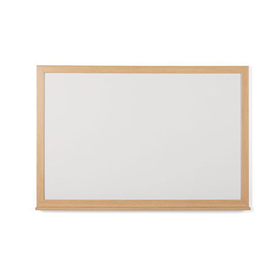 Tableau blanc recyclable acier laqué magnétique Earth Bi-Office - cadre bois chêne - L60 x H45 cm