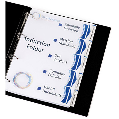 Intercalaires personnalisables Avery Index Maker - carte 190 g - A4 + - 6 positions - onglets blancs