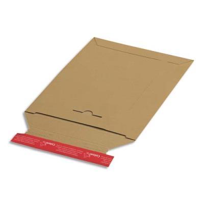 Pochette d'expédition en carton brun Colompac - refermable - 24,5 x 34,5 cm (A4+) - hauteur jusque 3 cm (photo)