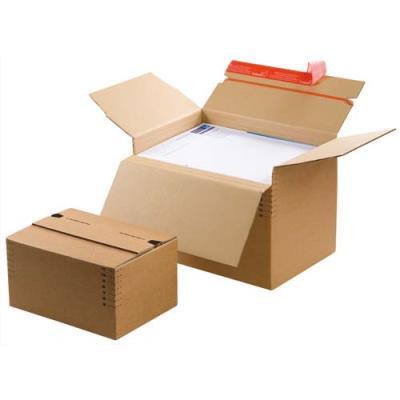 Caisse carton à fond automatique hauteur variable et fermeture autocollante - L30,4 x H de 13 à 22 x P21,6 cm (photo)