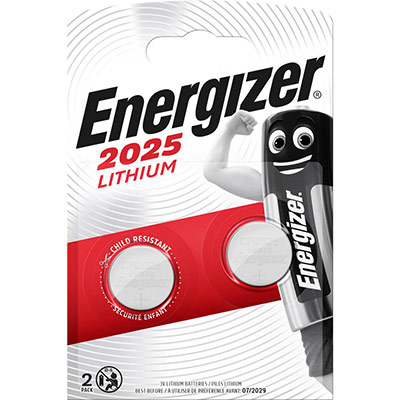 2 piles boutons - CR2025 - pile lithium 3V - Energizer