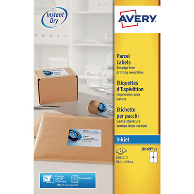 Etiquettes jet d'encre Avery J8169 - 25 planches - 99,1 x 139 mm - blanc - boîte de 100