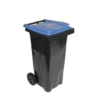 Conteneur poubelle mobile 2 roues - 120 litres prise frontale - couvercle bleu (photo)