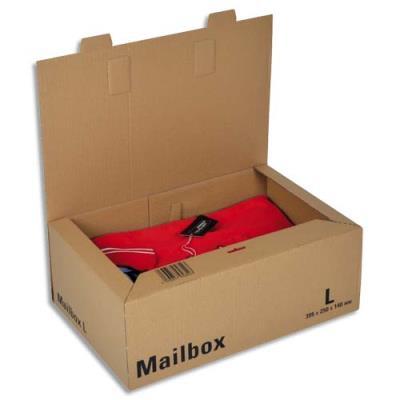 Boîte postale brune d'expédition Mailbox L en carton - 39,5 x 25 x 14 cm (photo)