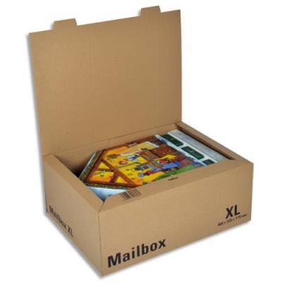 Boîte postale brune d'expédition Mailbox XL en carton - 46 x 33,5 x 17,5 cm (photo)