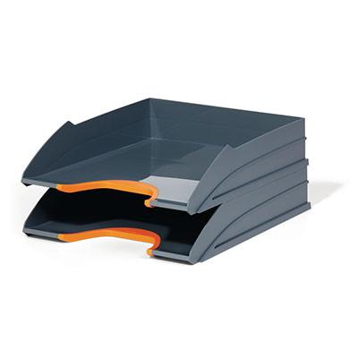 Set de 2 corbeilles à courrier Durable Varicolor - coloris gris / liseré orange