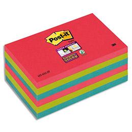 Notes post it 90 feuilles 76 x 127 mm couleurs vitaminées lot de 6 blocs