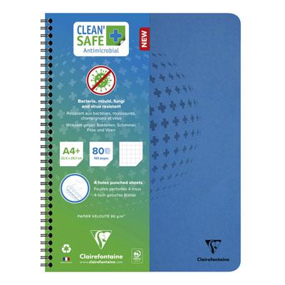 Cahier spirale Clean Safe Clairefontaine - traité antimicrobien - format A4+ - 22,5 x 29,7 cm - 160 pages microperforées - 90g - petits carreaux 5x5 - couverture en carte - bleu
