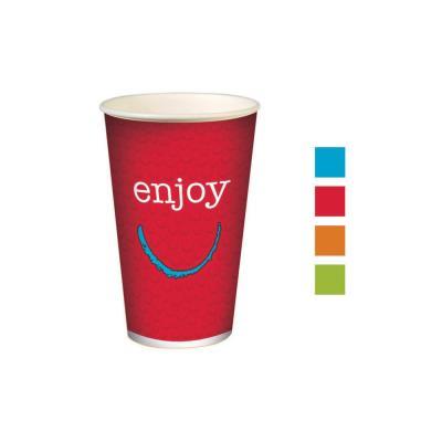 Gobelets pour boissons froides en carton recyclable Huhtamaki Enjoy - 400 ml - couleurs assorties - lot de 50