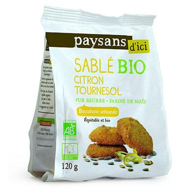 Biscuit sablé Bio - citron tournesol - sachet de 120 g - carton 8 x 120 grammes