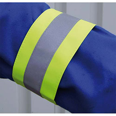 Brassard de sécurité VISO - L 48 x H 7,5 cm - réflecteur de 3 cm - coloris jaune (photo)