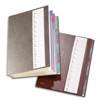 Trieur Mon Dossier - 12 compartiments - format 24,5x32 cm - coloris bordeaux