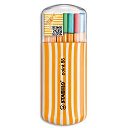 Etui distributeur de 20 stylos feutres Stabilo Point 88 - coloris assortis (photo)