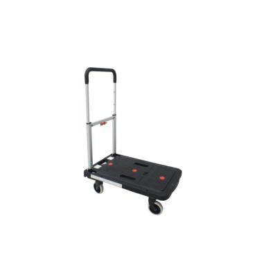 Chariot pliant pour support de charges jusqu'à 130 kg - plateau en polypropylène - noir