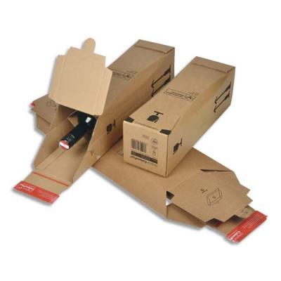Boîte d'expédition en carton pour une bouteille - 10,5 x 42 x 10,5 cm - brun (photo)