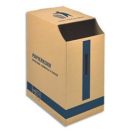 Corbeille à papier en carton ondulé - capacité 2500 feuilles - L22,7 x H47,5 x P32,7 cm - brun (photo)