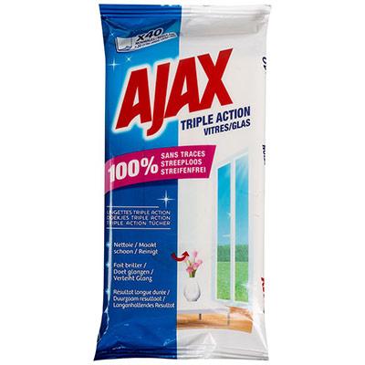 Lingettes nettoyantes pour vitres Ajax Triple action - paquet de 40