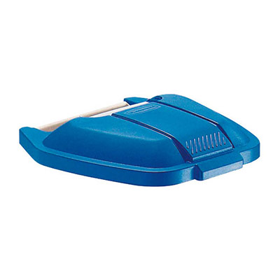 Couvercle bleu pour conteneur carré à roues Rubbermaid 100 L (photo)