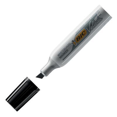 Bic Velleda 1781 - marqueur effacable à sec - corps métal - pointe biseautée - noir