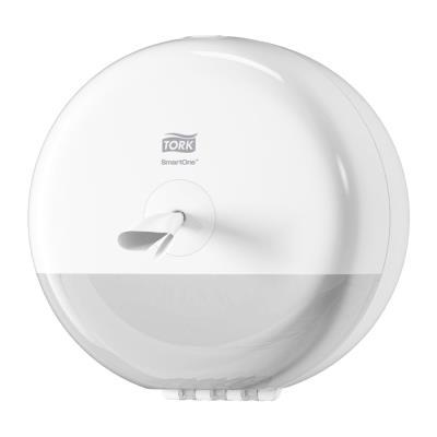 Mini Distributeur de papier toilette en rouleau Tork SmartOne blanc ABS - D21,9 cm x H15,6 cm