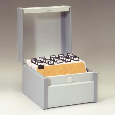 Boîte à fiches métal - fichier en largeur - 140 x 170 mm - gris
