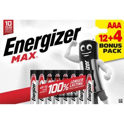Pile alcaline AAA / LR3 Energizer Max - pack Promo 12 + 4 GRATUITES - blister 16 unités