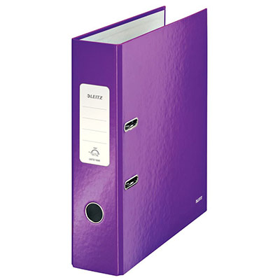 Classeur à levier 180° Leitz WOW - dos 8 cm - carton pelliculé - coloris violet
