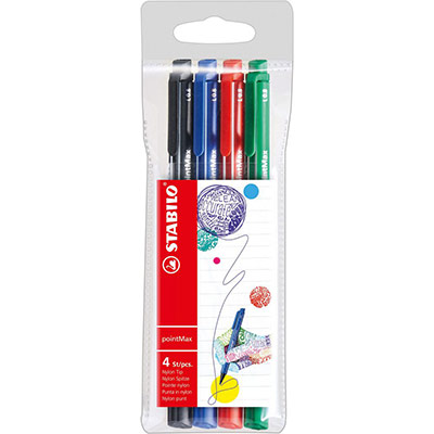 Feutres d'écriture Satbilo pointMax - pointe moyenne - pochette de 4 - coloris assortis