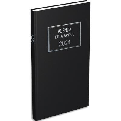 Agenda banquier long Lecas - 1 jour sur 2 pages - 2 volumes - euros cents - 15 x 34 cm - noir