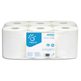 Bobine d'essuie mains Papernet - 450 formats - 19,6 x 24 cm - lot de 6 (photo)