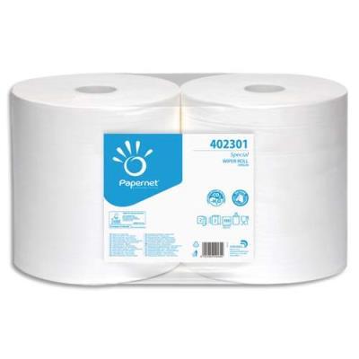 Lot de 2 bobines d'essuyage Papernet blanche - 1000 formats - 2 plis - 23,2 x 30,5 cm - agréé contact alimentaire