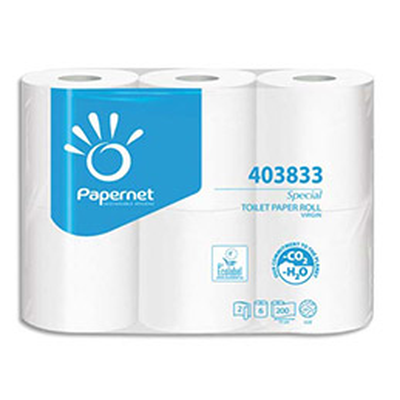 Papier toilette Papernet - 2 plis - lot de 6 rouleaux de 200 feuilles