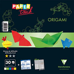 Kit origami Initiation Clairefontaine 30 feuilles assorties format 20x20cm + 1 planche gommettes yeux (photo)