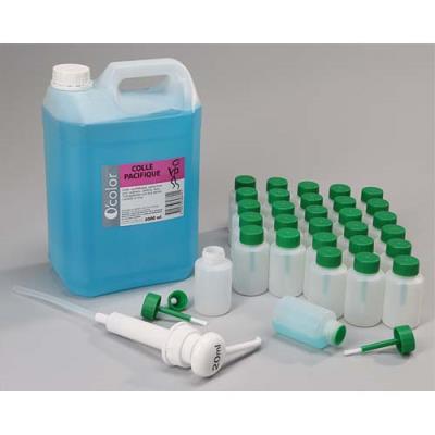Bidon de 5L de colle synthétique forte, 1 pompe 20ml , 30 flacons-pinceaux anti verse 80 ml vides