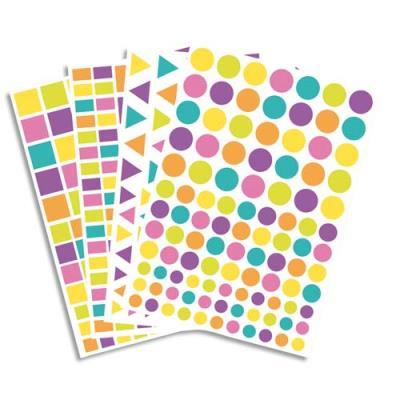 Lot de 40 planches, 4170 gommettes pastel et acidulées réparties en 4 formes et 3 tailles. (photo)