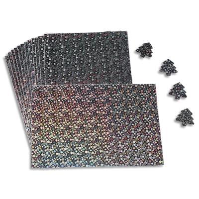 Lot de 15 feuilles A4 holographiques adhésives. Motif étoiles argent, reflets de l'arc en ciel (photo)