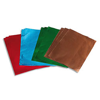 Lot de 12 feuilles métal à repousser couleur rouge, vert, bleu et cuivre x 3, verso argent (photo)