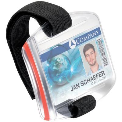 Brassards porte-badge Durable - plastique souple transparent - ajustable par scratch 7 à 18 cm - boîte de 10