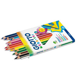 Etui de 12 crayons de couleur Méga Tri Giotto - mine extra-large - coloris assortis (photo)