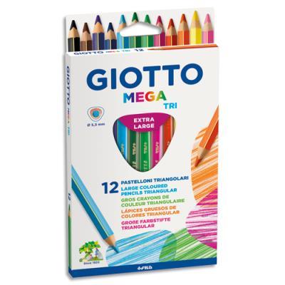 Etui de 12 crayons de couleur Méga Tri Giotto - mine extra-large - coloris assortis