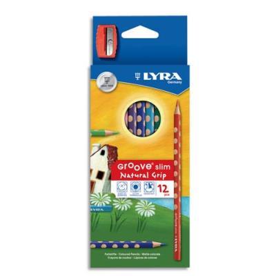 Etui Lyra de 12 crayons de couleurs ergonomiques triangulaires Groove Slim, couleurs assorties